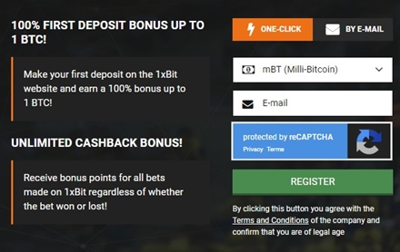 1xbit one click registration form