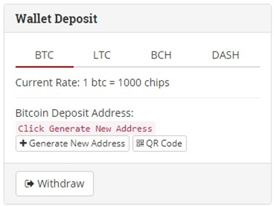 betcoin deposit and withdraw screen