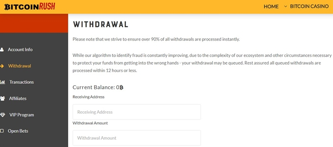 bitcoinrush withdrawal page