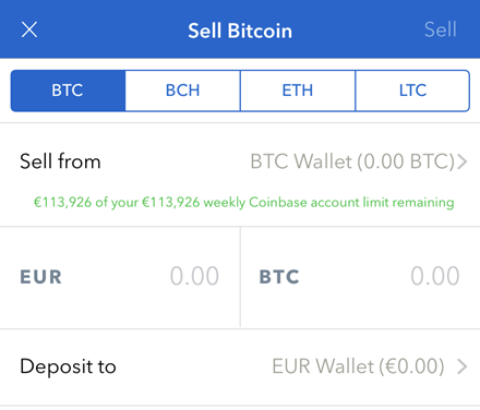 coinbase sell bitcoins