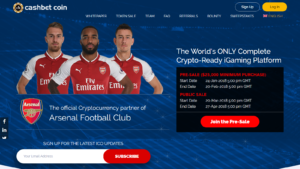 Cashbet Coin landing page with Arsenal FC players