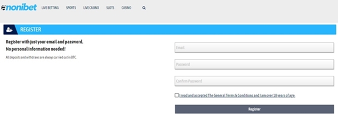 anonibet signup page